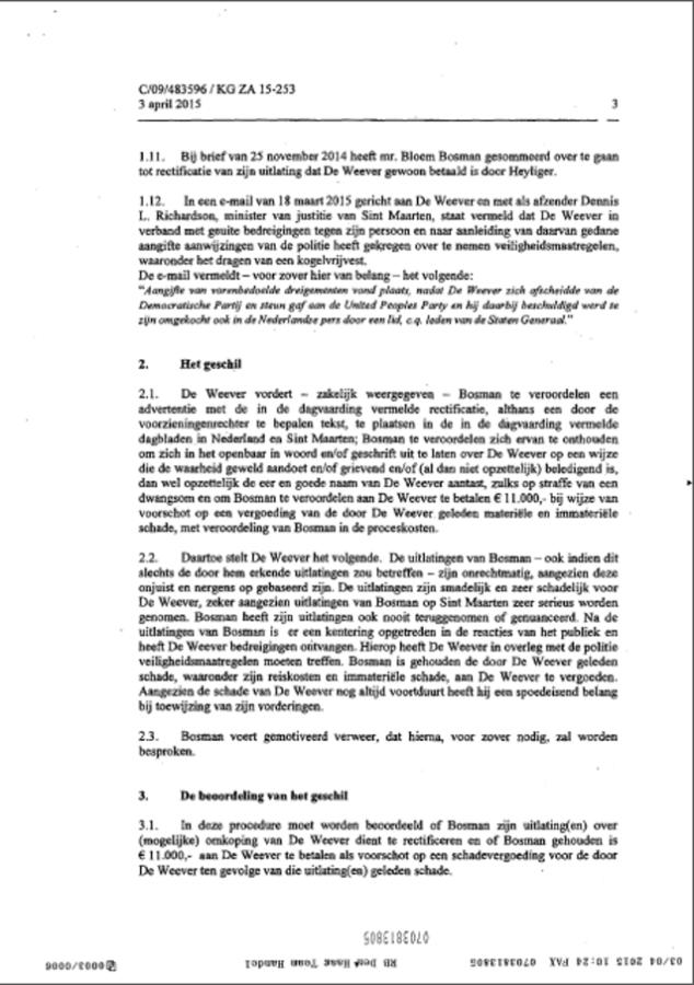 FULL COURT VERDICT BOSMAN VS DE WEEVER DUTCH ENGLISH TRANSLATION.... HOW CORNELIUS DE WEEVER LOST!