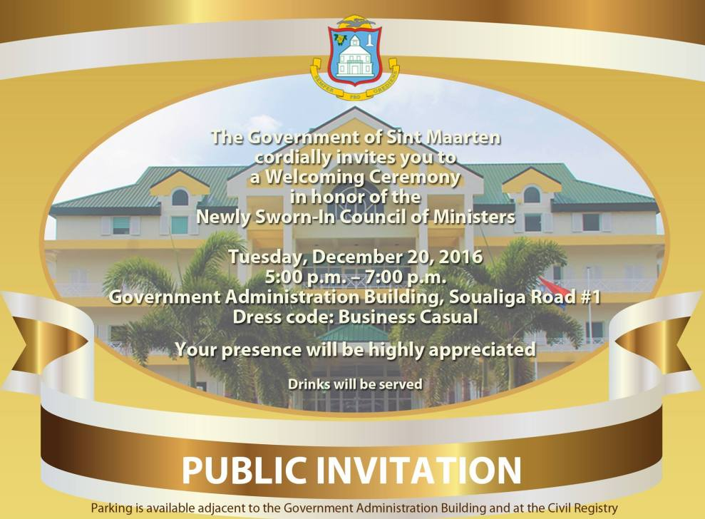 DUTCH SINT MAARTEN GOVERNMENT INVITATION