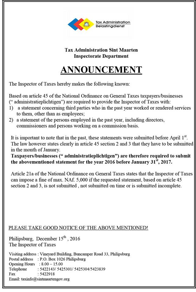 public announcement from sxm dutch sint maarten government