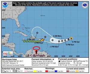 Ouragan Irma : Les îles du Nord en vigilance JAUNE Hurricane Irma: the Northern Islands in yellow vigilance
